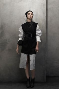 Maiyet | Pre-Fall 2014 Collection, striped skirt, black knitted pull-over, white button-down, cross body bag, wide belt