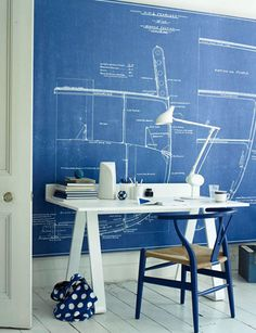 engineering drawing as a wall design #blue #interior