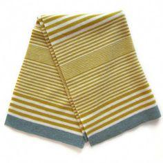 lambswool baby blanket (mustard, cream, blue)