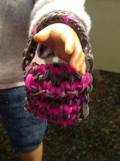 American Girl Doll Purse - Rainbow Loom!! - pink & gray - great accessory