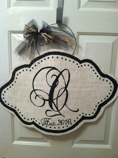 Personalized Burlap Door Hanger by HeatherHCates on Etsy, $30.00