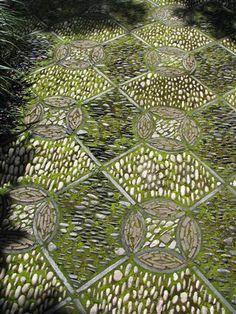 Pebble mosaic courtyard in Portland's Chinese Garden.