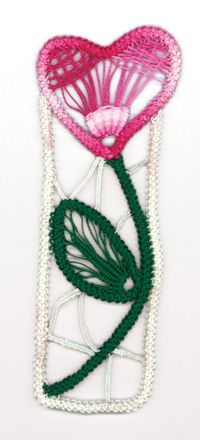 Romanian Point Lace - contains free pattern for flower bookmark