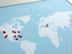 gift, poster print, travel map, diy kit