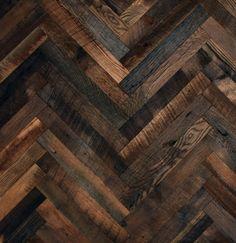 Dark herringbone wood floors.