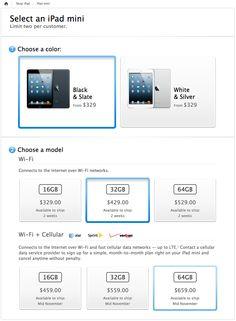 Select an iPad Mini at Apple.com