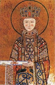 "Byzantine Period. Empress, elaborate jeweled garment. wearing a Pallium/lorum (""heavily jeweled scarf... official insignia of the emperor."") Notice the hair isn't covered -- yet."