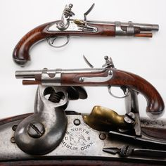 Simeon North M1816 Pistol - There was a time when men were men and pistols were smoothbores, and our GOTD was one of the best. Made by Simeon North in Middletown, CT, about 20,000 examples of the Model 1816 were to be produced from 1817 to 1820.  One way to tell early from later manufacture M1816 flintlock pistols is to see if the lockplate is smiling.  At the #NRA National Firearms Museum in Fairfax, VA.