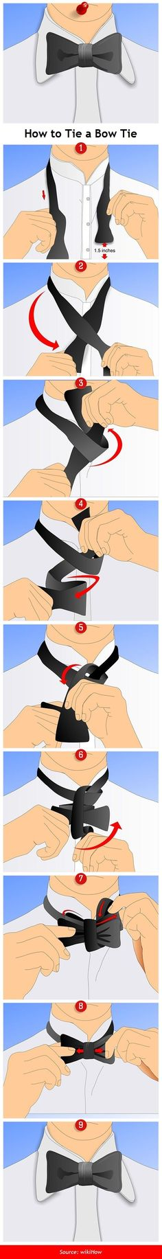 How to Tie a Bow Tie. Necessary sartorial information for the Man In The Know. #infographic #menswear