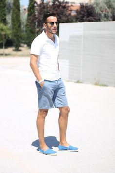 look: white polo shirt + blue shorts + espadrilles