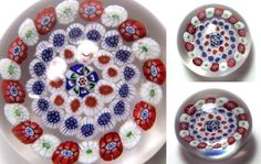 Antique Baccarat Miniature Concentric Millefiori Paperweight with  rare rose canes.   circa 1845-1860. rare rose, antiqu french, antiqu baccarat, rose cane