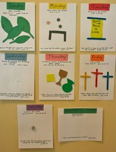 Holy Week crafts -one for each day- with bible verses.