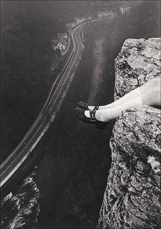 Paul Hill Legs Over High Tor, Matlock, Derbyshire, 1975