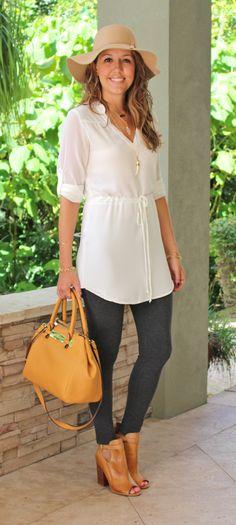 White shirtdress, wool hat, gray leggings, cognac booties