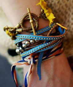 """The grown-up """"arm party"""": Take our texturizing tip a step further and layer your bracelets over one another."""