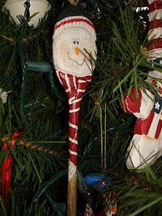 Wooden Spoon Snowman