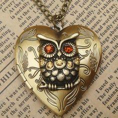 Steampunk Gold Owl Heart Locket Necklace Vintage Style