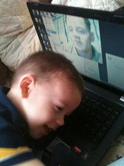 17 month old Tyler gives his daddy a hug while talking to him online. Nothing is as precious as the love of a child. ~ Honor Them