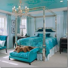 Turquoise <3.  While I favor green more than all colors, I like how this room looks, and love the dog bed at the end of the main bed. :-)