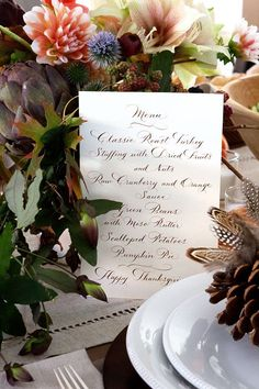 thanksgiving table settings, thanksgiving menu, autumn, fall, dinners, dinner parties, anthropologie, thanksgiv menu, flower