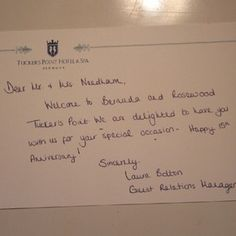 A note from the Guest Relations Manager at the hotel.