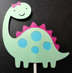 12 Cupcake Toppers - Girl Dinosaur Hot Pink, Green, and Blue Collection