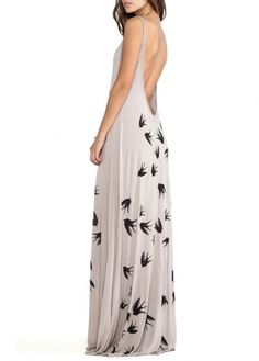Elegant Grey Open Back Swallow Print Spaghetti Strap Dress #sexy #backless #print #evening #beach #dress