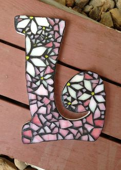 Mosaic Stained Glass Letters Custom Made by coveredinglass on Etsy