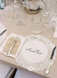 love this - personalized doily at each place setting