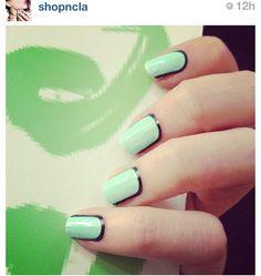 Black outline fun color, color combos, green, colors, anim nail, nail arts, diy nail, mint nail, black outlin