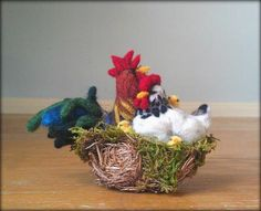 Mini Felted Rooster Hen and Chicks in Nest by gotcrowcreations, $89.00