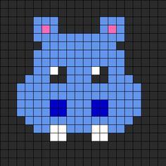 Hippo Perler Bead Pattern | Bead Sprites | Animals Fuse Bead Patterns