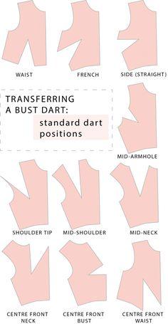 Transferring a bust dart - standard dart positions