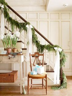 For our staircase at Christmas, long bows and garland