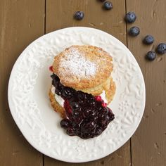 Quick and easy Scones with Blueberry Compote and Whipped Cream