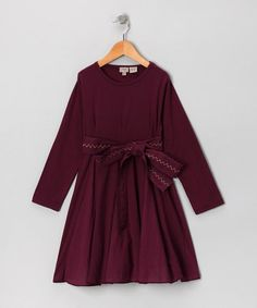 Burgundy Belt Dress - Toddler & Girls by Aioty on #zulily today!