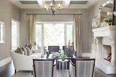 Wall color is Coastal Fog from Benjamin Moore. Stunning mid tone tan/gray mix. dining rooms, wall colors, formal living, living rooms, family rooms, living room designs, paint colors, live room, benjamin moore