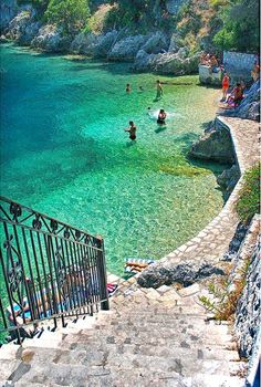 Steps to the sea in Ithaki, Greece