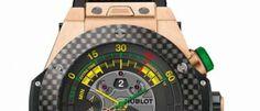 Hublot Big Bang Unico Birretrógrado Un cronógrafo diferente, con una visualización específica para el fútbol, es el reloj oficial del Mundial de Brasil.