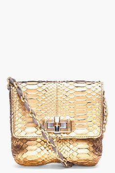 Lanvin Gold Python Skin Bag