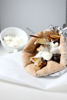 Chicken Gyros with French Fries, Tsatziki Sauce and Feta Cheese