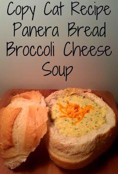 Copy Cat Recipe Panera Bread Broccoli Cheese soup