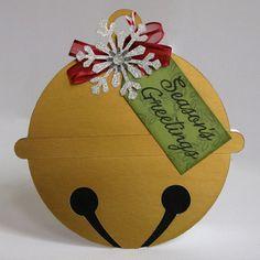 Metallic Jingle Bell Shaped Holiday Christmas Card by Mendi Yoshikawa @2peasinabucket