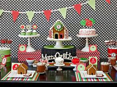 Adorable gingerbread house making party.