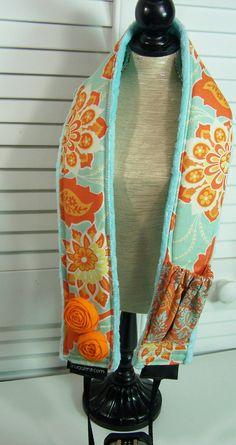 dIGITAL slr camera strap padded 30 x 2  heirloom azure-orange-rosettes-lens cap pkt-minky-Snugglens.  http://weightlossshack.com