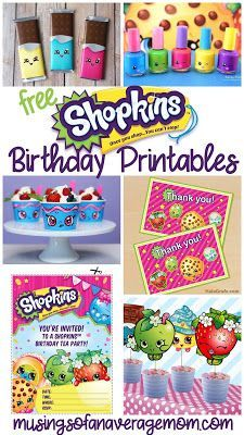 Free Shopkins Birthday printables including invitations, decorations, food labels, cupcake toppers, thank you cards, party favors and more!