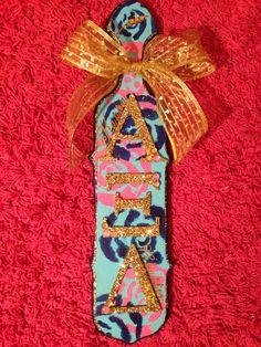 Alpha Xi Delta #sorority #paddle #diy #greek #gifts #bow