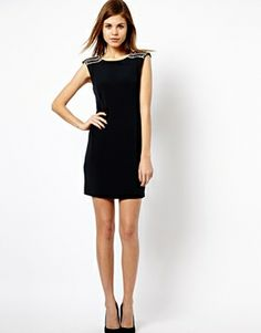 Warehouse Embellished Stack Shoulder Dress