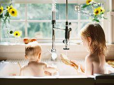 kid portraits, sink bath, kitchen sinks, bath time