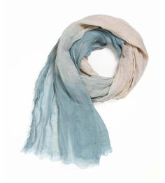 Blue & White Ombre Linen Scarf